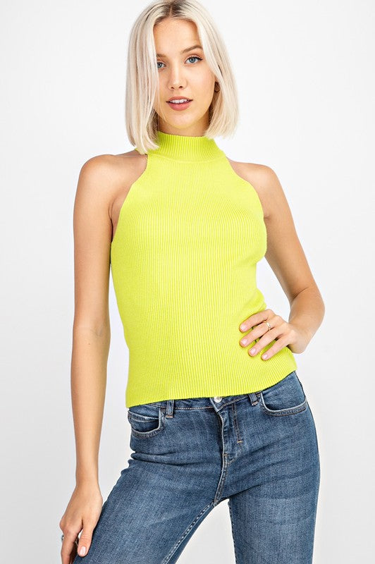 Ribbed Halter Sweater Top