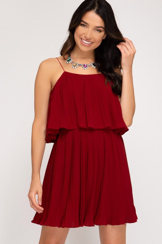 Wine PLEATED WOVEN TIERED CAMI DRESS