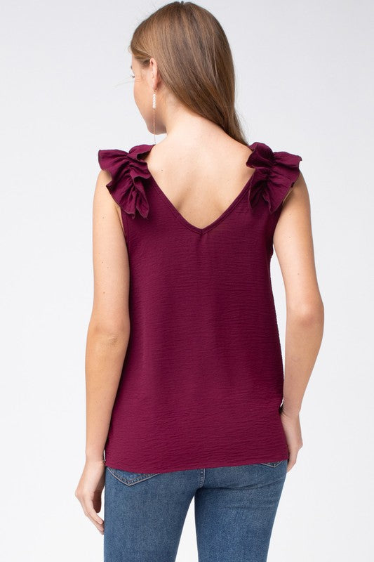 Burgundy v-neck ruffle shoulder tank