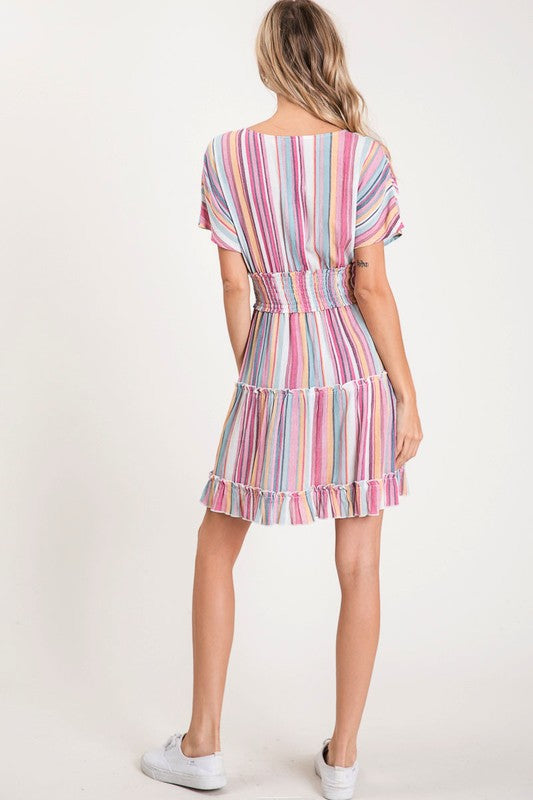 Rainbow Multicolored Striped Dress