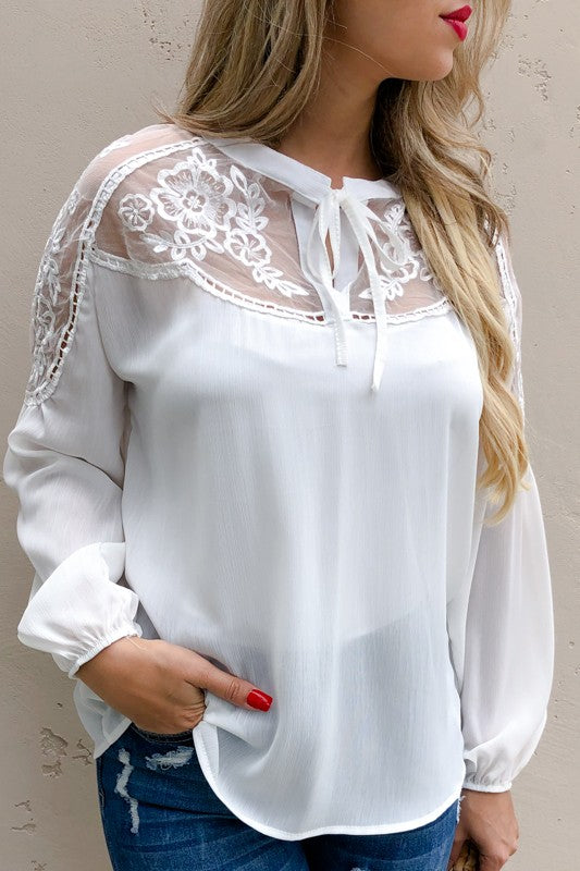 Floral Lace Embroidered Sleeve Blouse