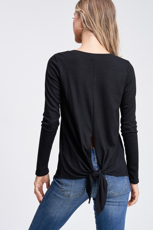 Black Self Tie Knot Back Knit Top