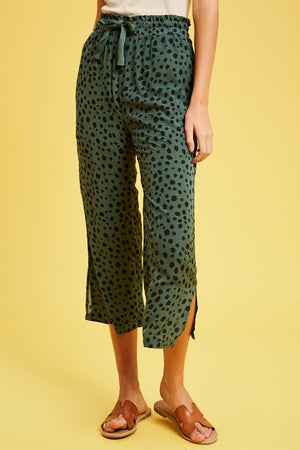 Deep Sage Leopard Dot Side Slit Crop Pant