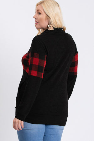 Plus Plaid Zip Up Sweater