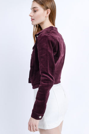 Burgundy Corduroy Button Up Jacket