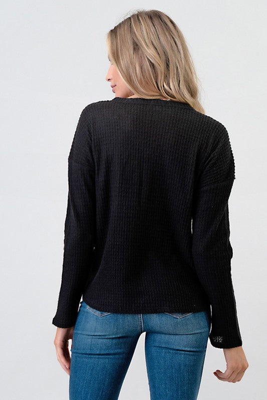 Black Button Brushed Waffle Top
