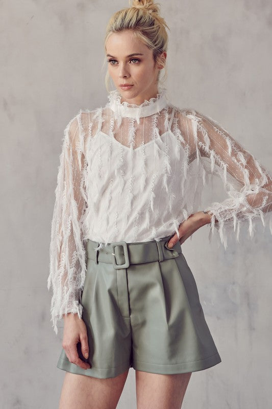 TEXTURED RUFFLED NECK SEE THROUGH BLOUSE