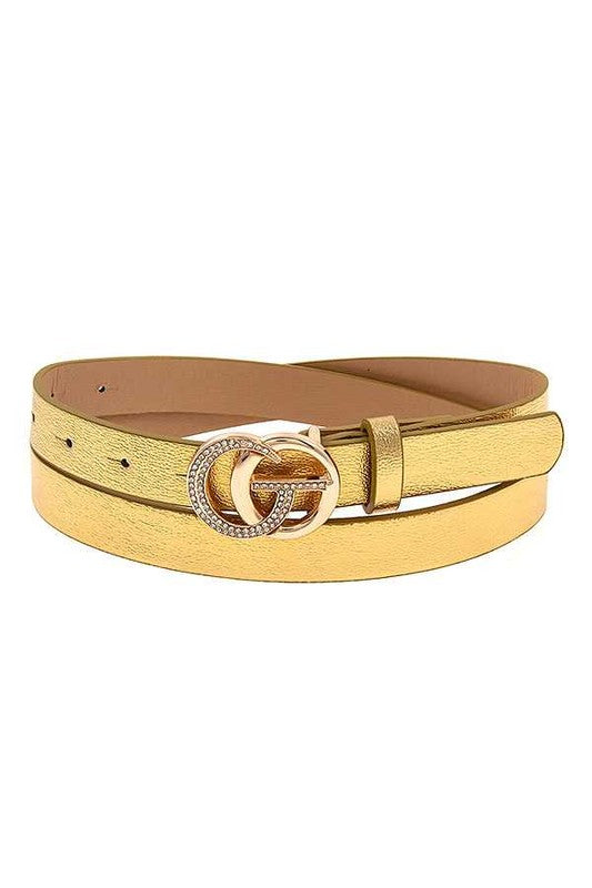 Gold Rhinestone Pave Buckle Belt