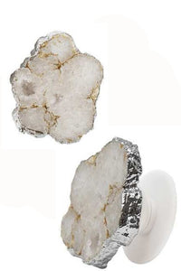 White Druzy Stone Phone Grip