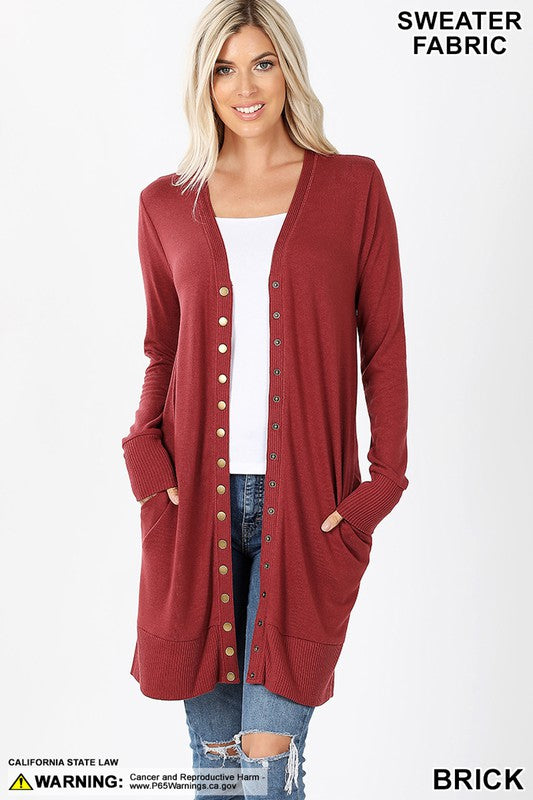 Fired Brick Thigh Length Snap Cardigan