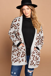 Plus Grey Leopard Print Cardigan
