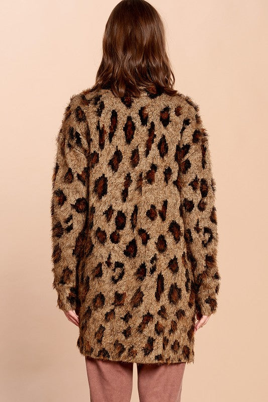 Plus Leopard Print Cardigan With Pockets