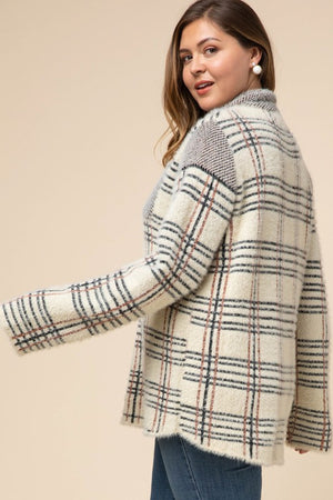 Plus Plaid 3/4 Zip Top