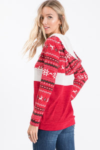 Reindeer Zip Up Sweater