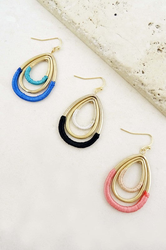 Pink Wrapped Teardrop Earrings