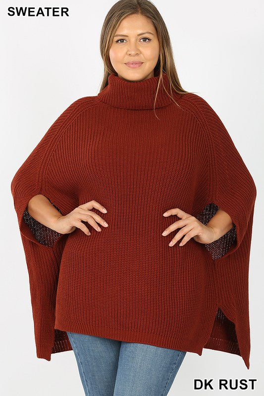 Burgundy PLUS TURTLENECK PONCHO SWEATER
