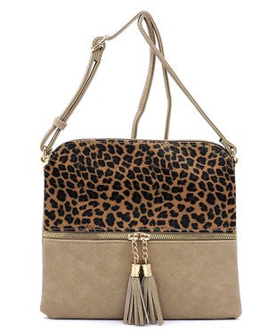 Taupe Leopard Color Block Zip Tassel Crossbody