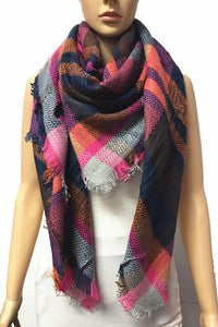 Navy Pink Plaid Blanket Scarf