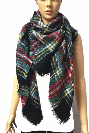 Black Multi Plaid Blanket Scarf