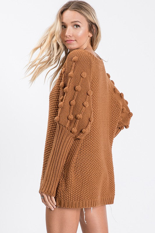 Brown Pompom Sweet Cozy Sweater