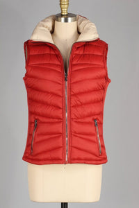 Plus Reversible Rust/Beige Zip Puffy Vest