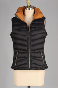 Plus Reversible Black/Mustard Zip Puffy Vest