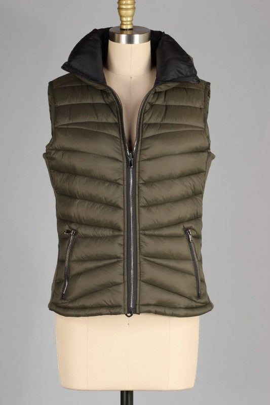 Reversible Olive/Black Zip Puffy Vest