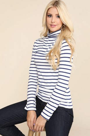 Stripe Fitted Turtleneck