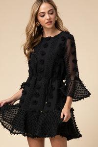 Black Dotted Swiss Ruffled Dress