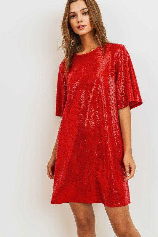 Red Sequin Tee Shirt Dress