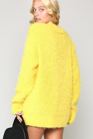 Yellow Soft Slouchy V-Neck Sweater