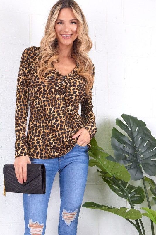 Leopard Ruched Front Button