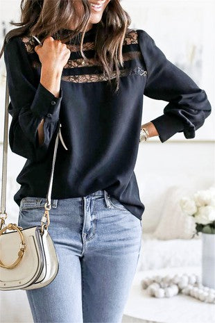 Front Lace Trim Puff Sleeve Blouse