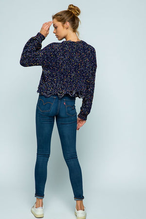 Navy Chenille Destroyed Popcorn Sweater