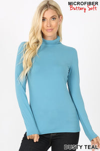 Dusty Teal Microfiber Turtleneck