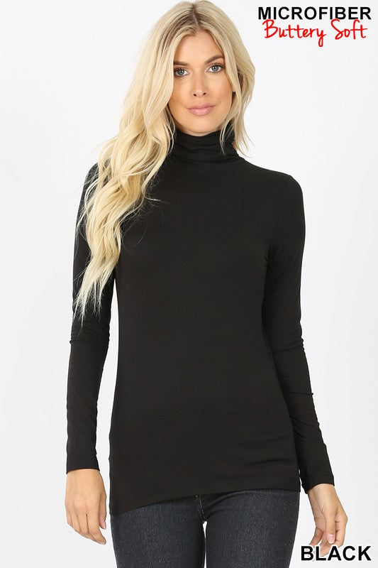 Black Microfiber Turtleneck