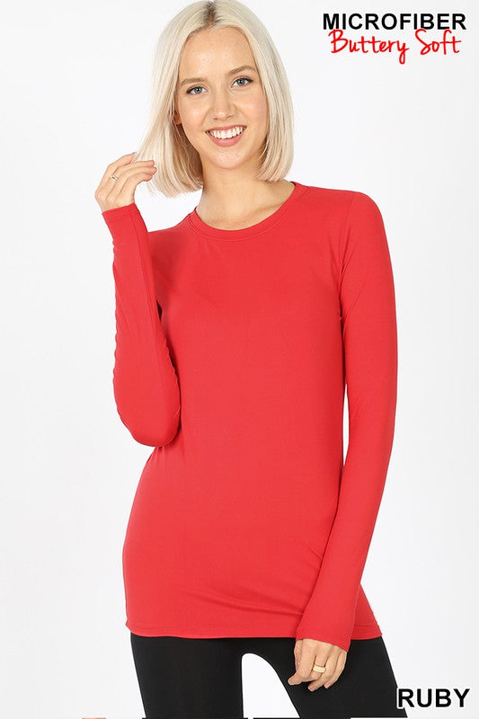 Red Microfiber Long Sleeve Crew Tee