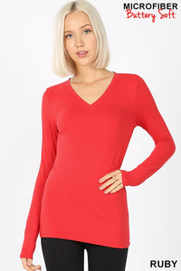 Red Microfiber V-Neck Long Sleeve Tee
