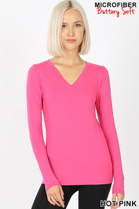Hot Pink Microfiber Long Sleeve V-Neck Tee