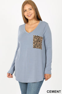 Plus Blue Grey Leopard Print Pocket Top