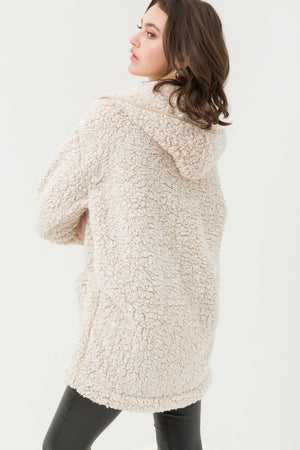 Tan Hooded Over Sized Sherpa Fleece Teddy Jacket