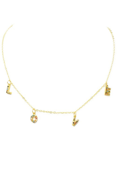 Gold Multi Color Cubic Zirconia Love Charm Necklace