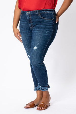 Plus Gemma Mid Rise Double Fray Skinny Kan Can