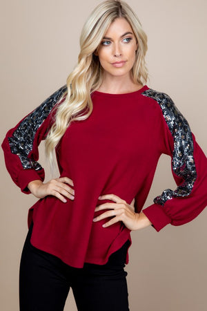 Ruby Hacci Top with Animal Print Sequin Sleeve