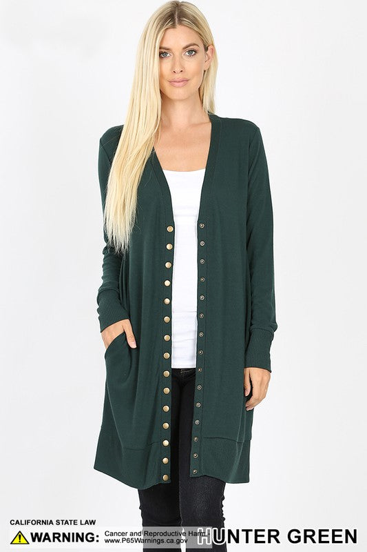 Hunter Green Thigh Length Snap Cardigan