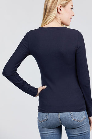 Navy Ribbed Button Thermal