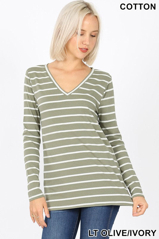 LT. Olive Stripe V-Neck Long Sleeve