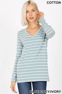 Blue Grey Stripe V-Neck Long Sleeve