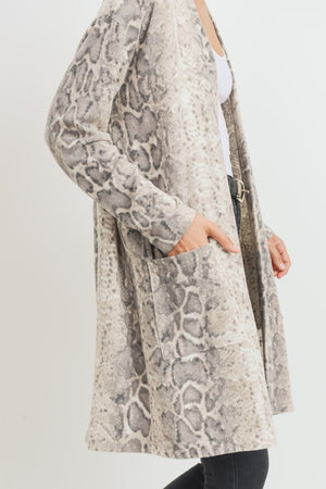 Soft Snake Print Open Cardigan