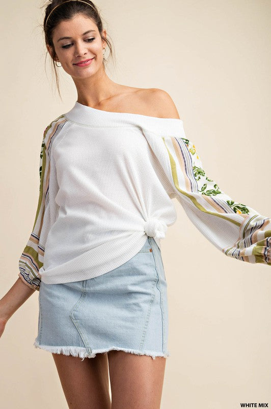 Off Shoulder Mixed Fabric Waffle